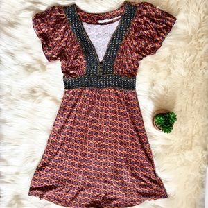 Kimchi Blue Flutter Sleeve VNeck Soft Summer Dress